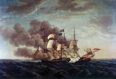 USS Constitution vs HMS Guerriere by Michele Felice Cornè